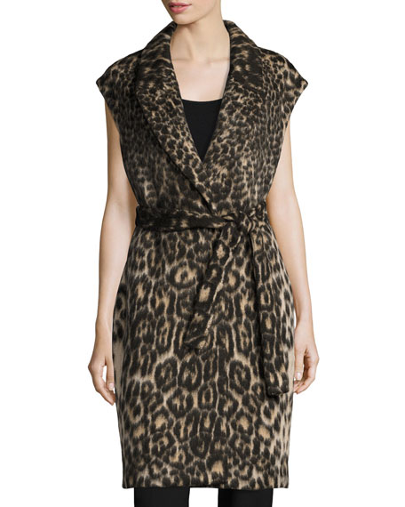Kobi Halperin Noa Long Leopard-Jacquard Vest, Chocolate Multi
