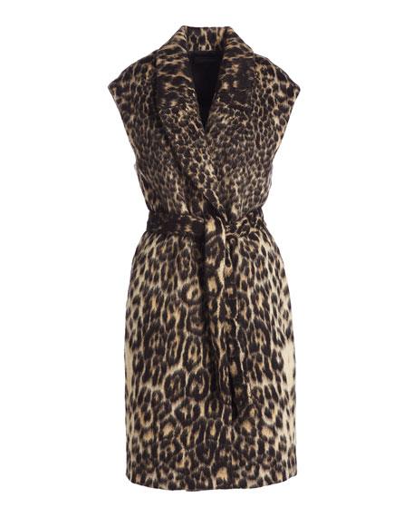 Noa Long Leopard-Jacquard Vest, Chocolate Multi Reviews