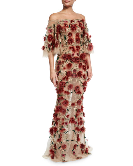 Off-the-Shoulder Bell-Sleeve Feather Gown, Red