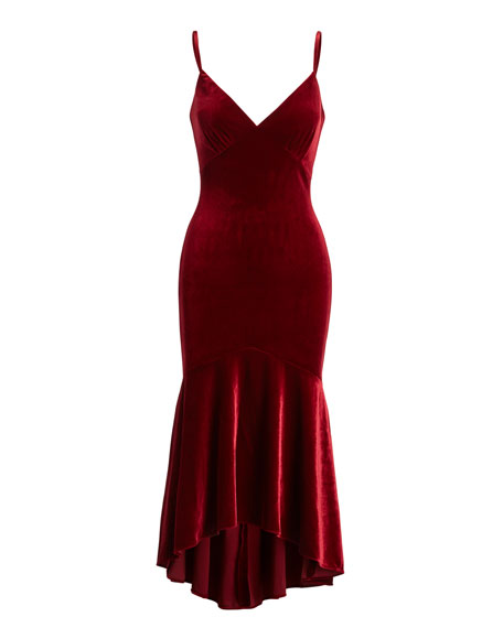 Sleeveless Velour Midi Dress, Garnet