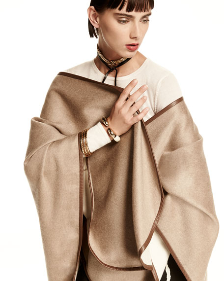 Leather-Trim Cashmere Cape