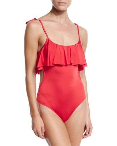 Tie-Shoulder Ruffled Popover One-Piece Swimsuit, Red