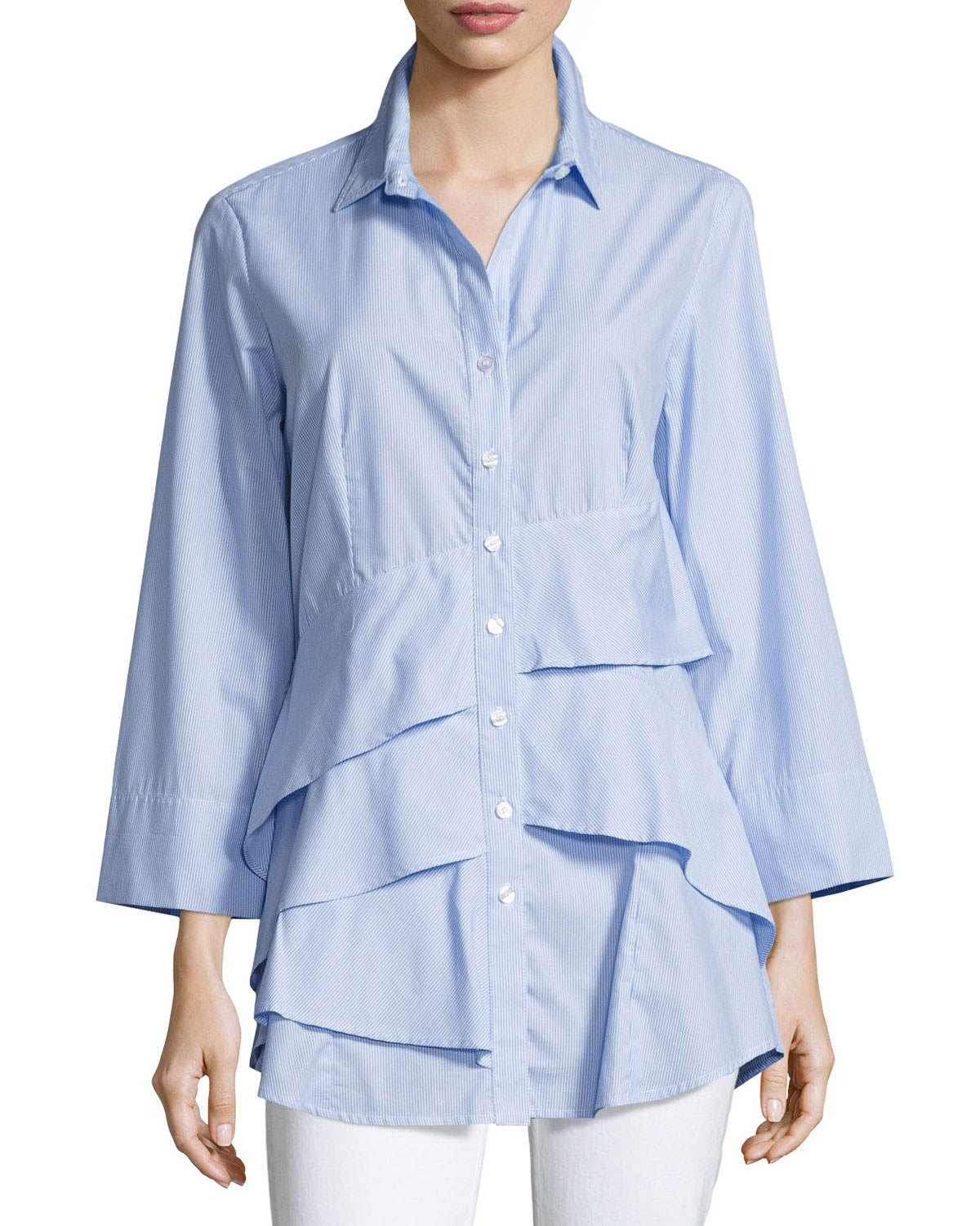 ba950707a5 Roxanne Button Front Easy Blouse Source · Finley Jenna Striped Chambray Tiered  Ruffle Blouse Neiman Marcus