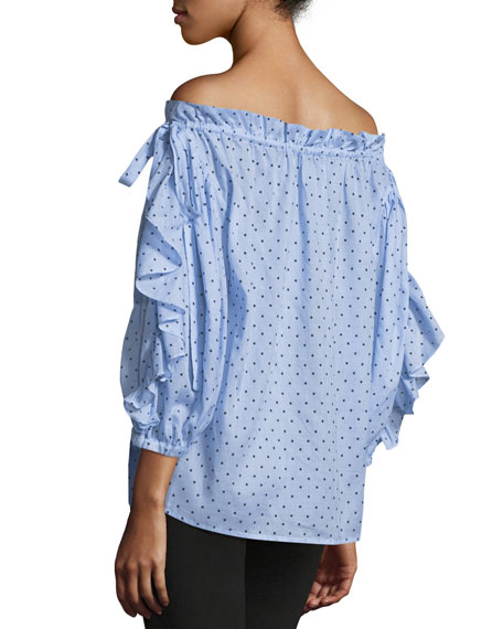 Polka-Dot Off-the-Shoulder Top, Blue