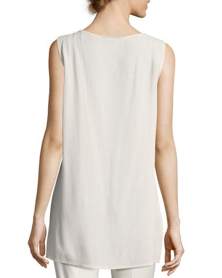 Eileen Fisher Plus Size Bateau-Neck Silk Georgette Crepe Shell