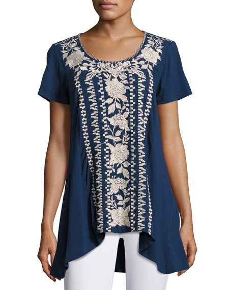 Letty Embroidered-Panel Tunic