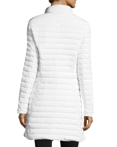 Quilted Fitted Zip-Front Midi Coat w/ Faux-Fur