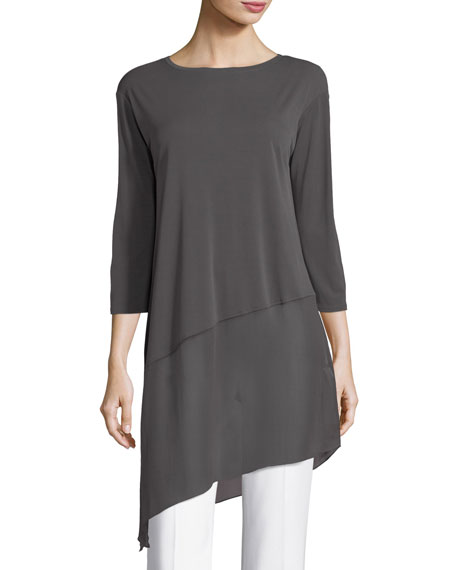 Bateau-Neck 3/4-Sleeve Stretch Jersey Tunic Top, Plus Size