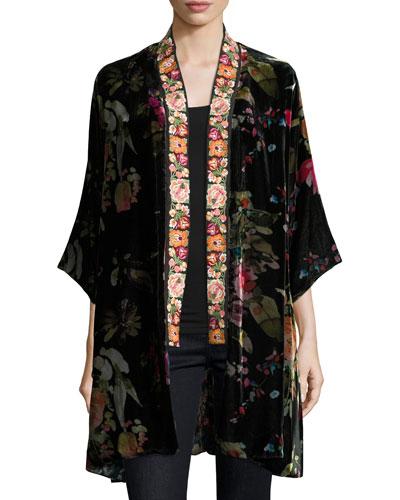 Petite Kehlani Reversible Velvet Kimono W/ Embroidery Trim