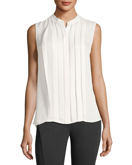 Terri Sleeveless Pleated Silk Blouse