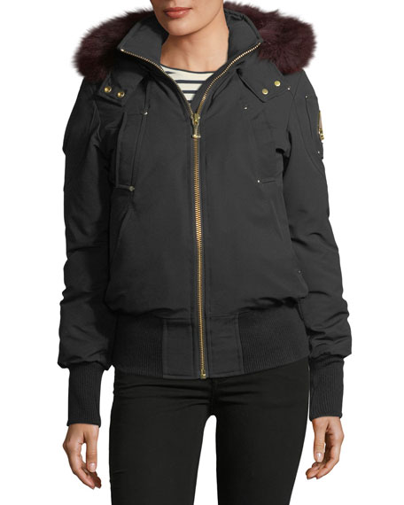 Moose Knuckles Latreille Zip-Front Bomber Jacket w/ Fur