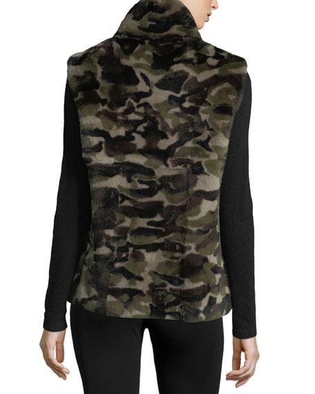 Reversible Camo-Print Rabbit Fur Vest