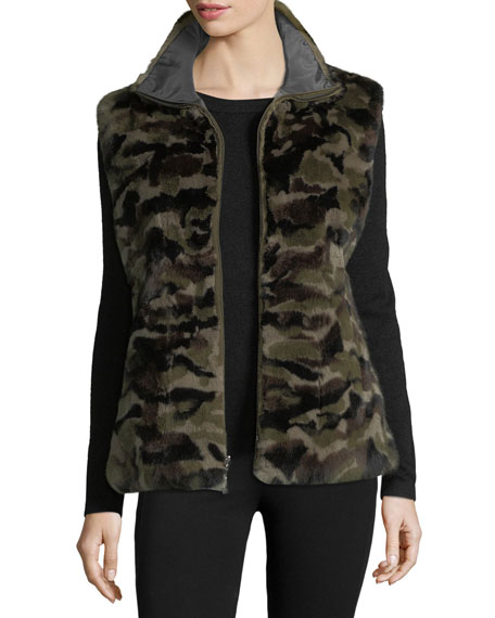 Belle Fare Reversible Camo-Print Rabbit Fur Vest