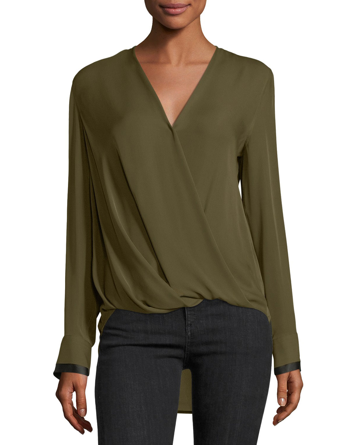 f6f9aadf06034 Victor Surplice Long-Sleeve High-Low Silk Blouse and Matching Items ...