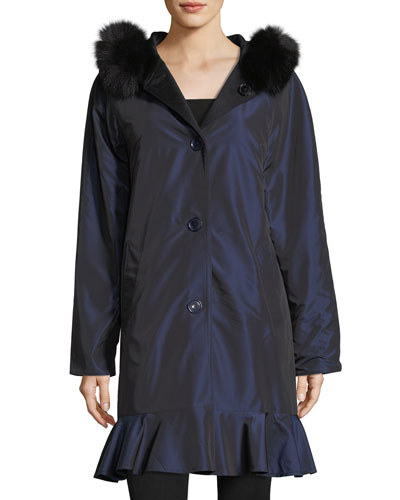 Long-Sleeve Button-Front Reversible Raincoat w/ Fur Trim