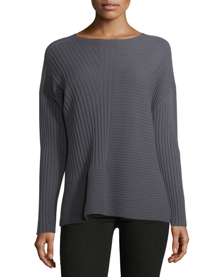 Eileen Fisher Seamless Ribbed Italian Cashmere Sweater ...