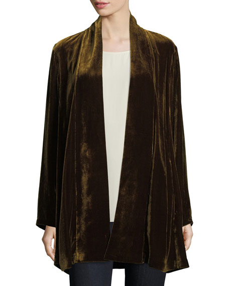 Velvet Long Shawl-Collar Jacket, Plus Size