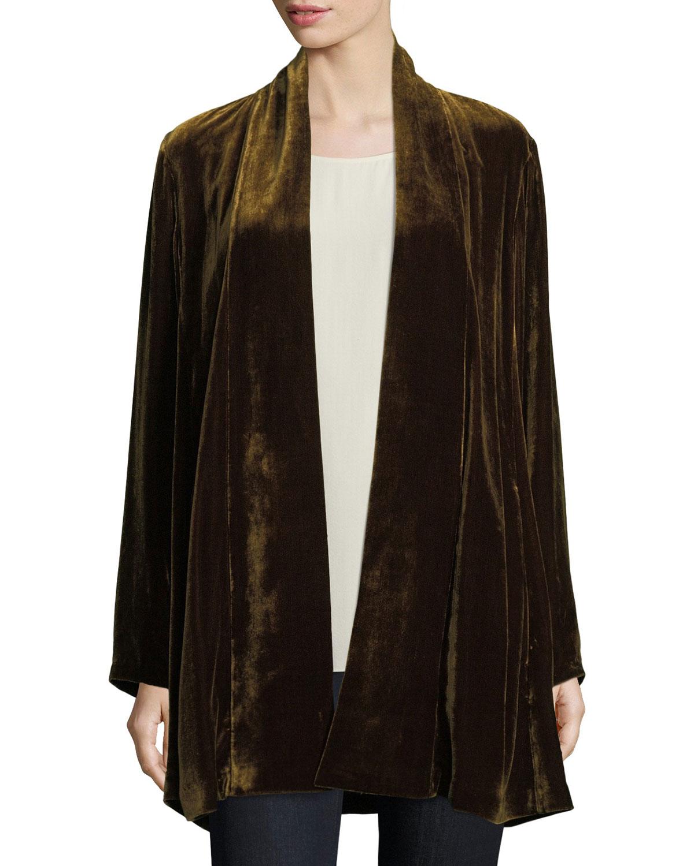 db41e45d44b69 Eileen Fisher Velvet Long Shawl-Collar Jacket