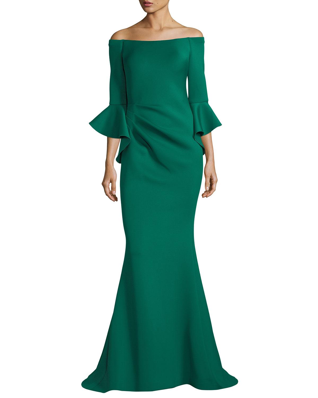 Jovani Off-the-Shoulder Trumpet-Sleeve Mermaid Gown   Neiman Marcus