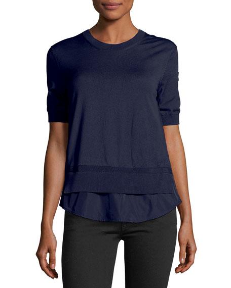 Moncler Maglia Frilly Half-Sleeve Peplum Shirt