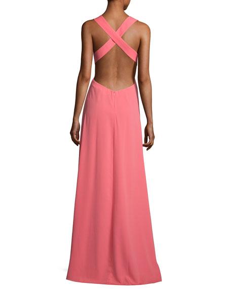 Jill Jill Stuart Sleeveless Crisscross-Back Pleated Gown
