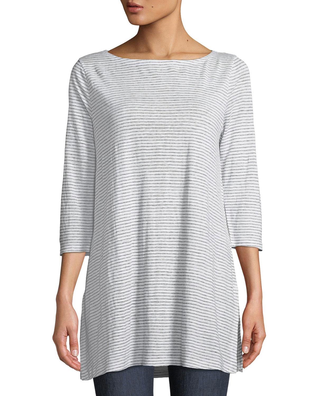 ea65054d67b Eileen Fisher Plus Size Mini-Stripe Organic Linen Jersey Tunic Tee ...