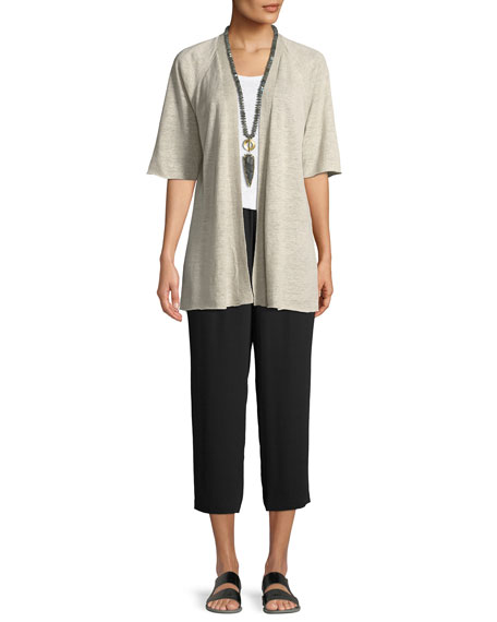 Eileen Fisher Petite Cropped Silk Georgette Straight-Leg Pants