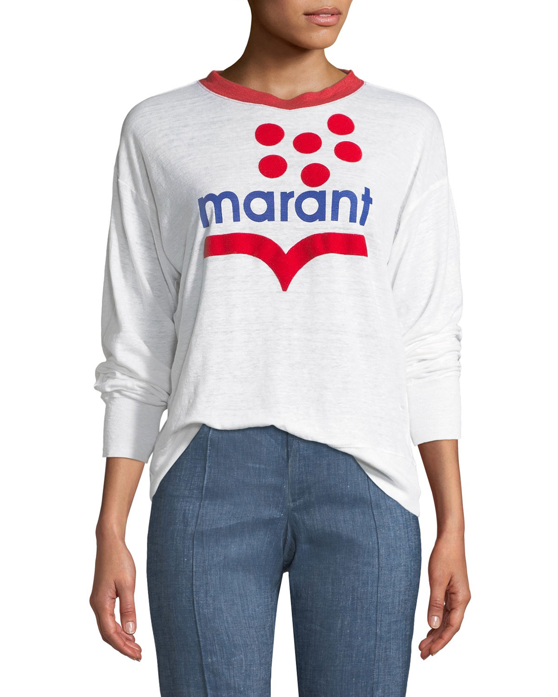 e99ecefd Etoile Isabel Marant Klowyn Long-Sleeve Logo Tee | Neiman Marcus