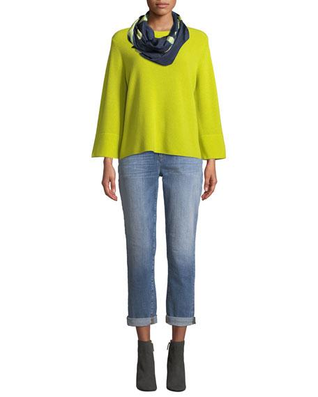 Eileen Fisher Bell-Sleeve Rib-Knit Sweater