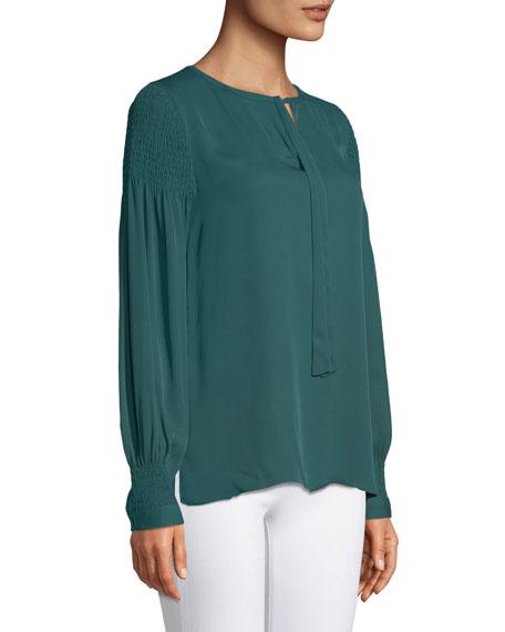 Kobi Halperin Julee Tie-Neck Long-Sleeve Silk Blouse w/ Smocking Details