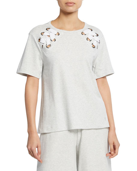 Joan Vass Plus Size Short-Sleeve Cotton Interlock Swing Top w/ Lacing Detail