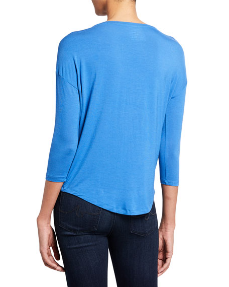 Majestic Paris for Neiman Marcus Soft Touch Easy Boat-Neck 3/4-Sleeve Tee
