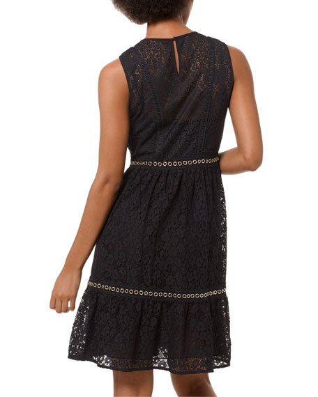 Image 2 of 3: Mini Mod Floral Lace Sleeveless Dress