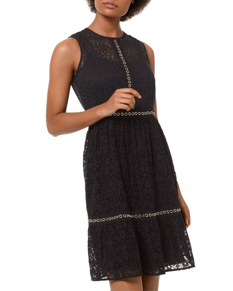 Image 1 of 3: Mini Mod Floral Lace Sleeveless Dress