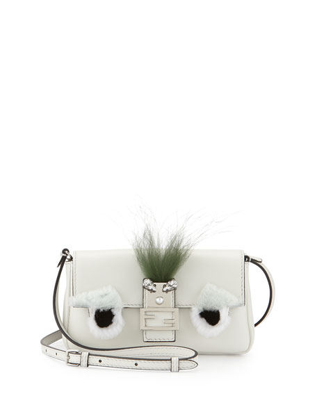 Fendi Baguette Micro Bag Bugs Crossbody Bag, White/Black