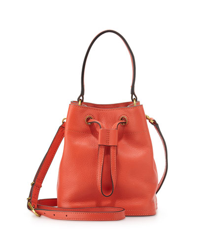Mini Leather Bucket Bag, Blaze