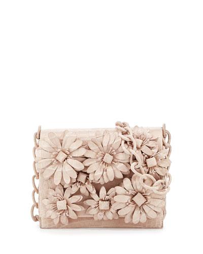 Flower-Applique Crocodile Crossbody Bag, Pearl Matte