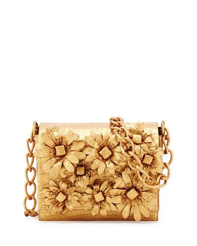 Flower-Applique Crocodile Crossbody Bag, Gold Matte