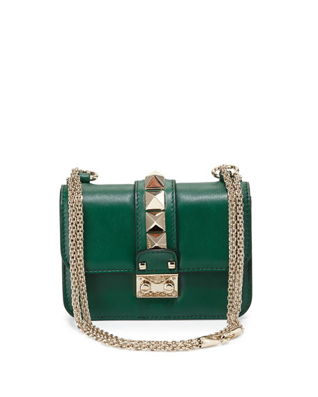Lock Micro Mini Shoulder Bag, Green