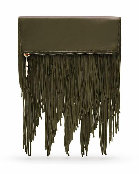 Elizabeth and James Andrew Fringe Fold-Over Crossbody Bag, Deep Olive