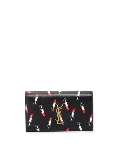 Saint Laurent Monogram Lipstick-Print Clutch Bag