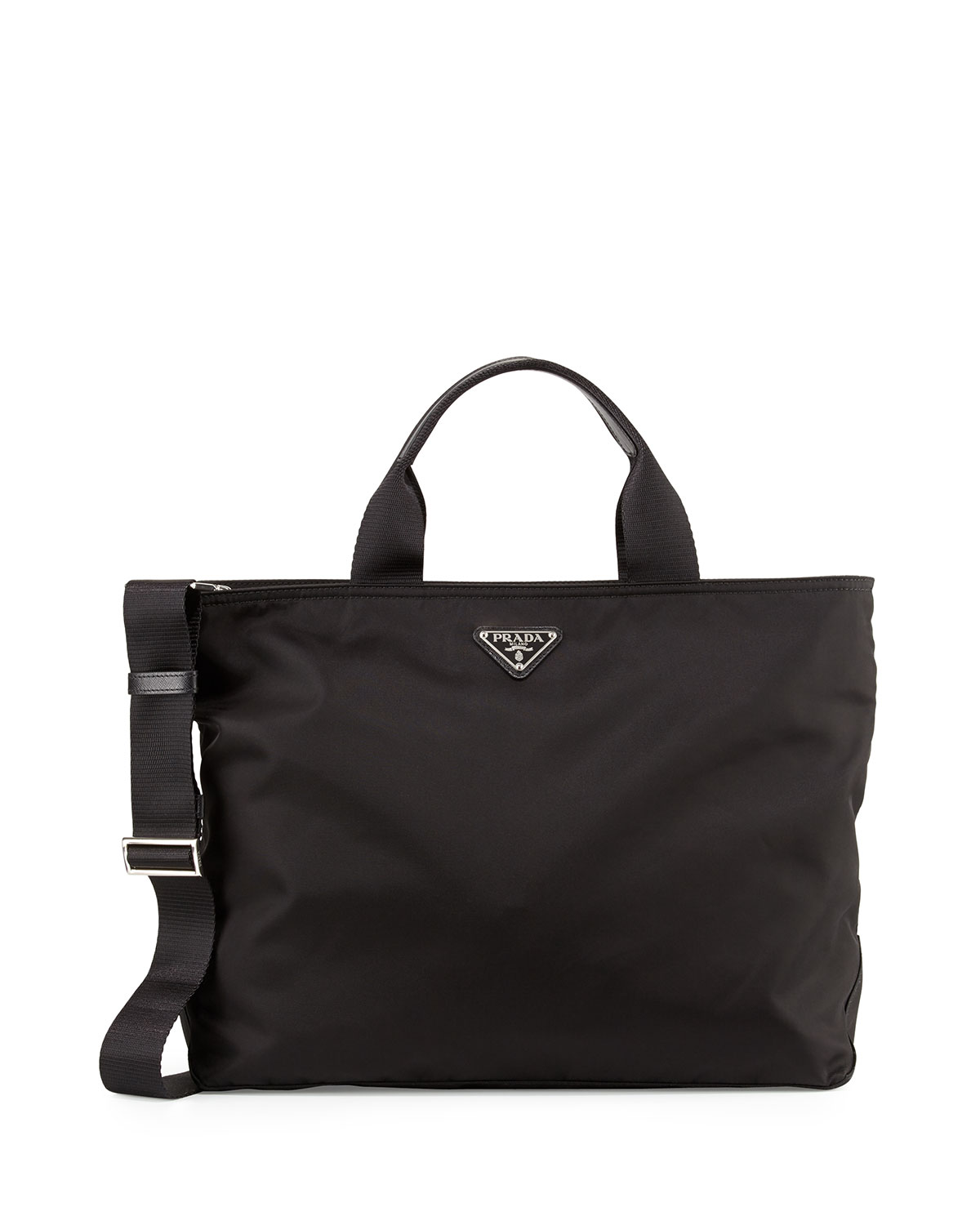 55907710e34b Prada Medium Double-Handle Nylon Tote Bag, Black (Nero) | Neiman Marcus