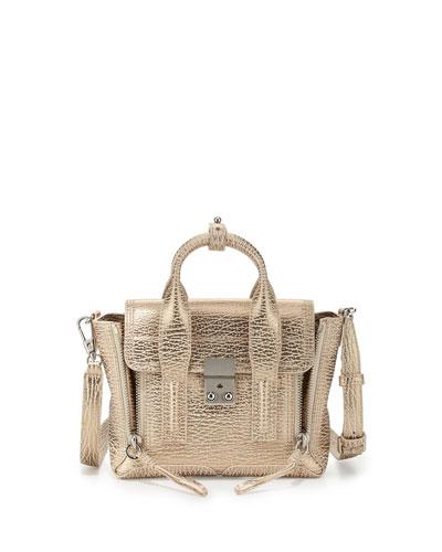 Pashli Mini Satchel Bag, Nude/Platinum
