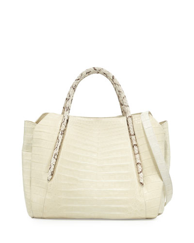 Horseshoe Crocodile/Snakeskin Tote Bag, Cream