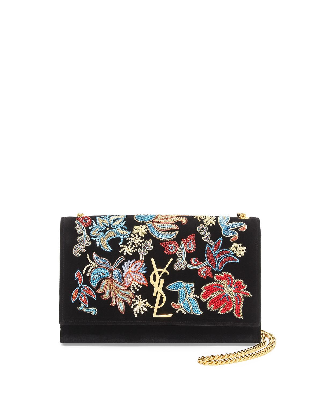a09a6b422a86 Saint Laurent Monogram Sequin Flower Rock Flap Wallet-on-Chain, Black/Multi