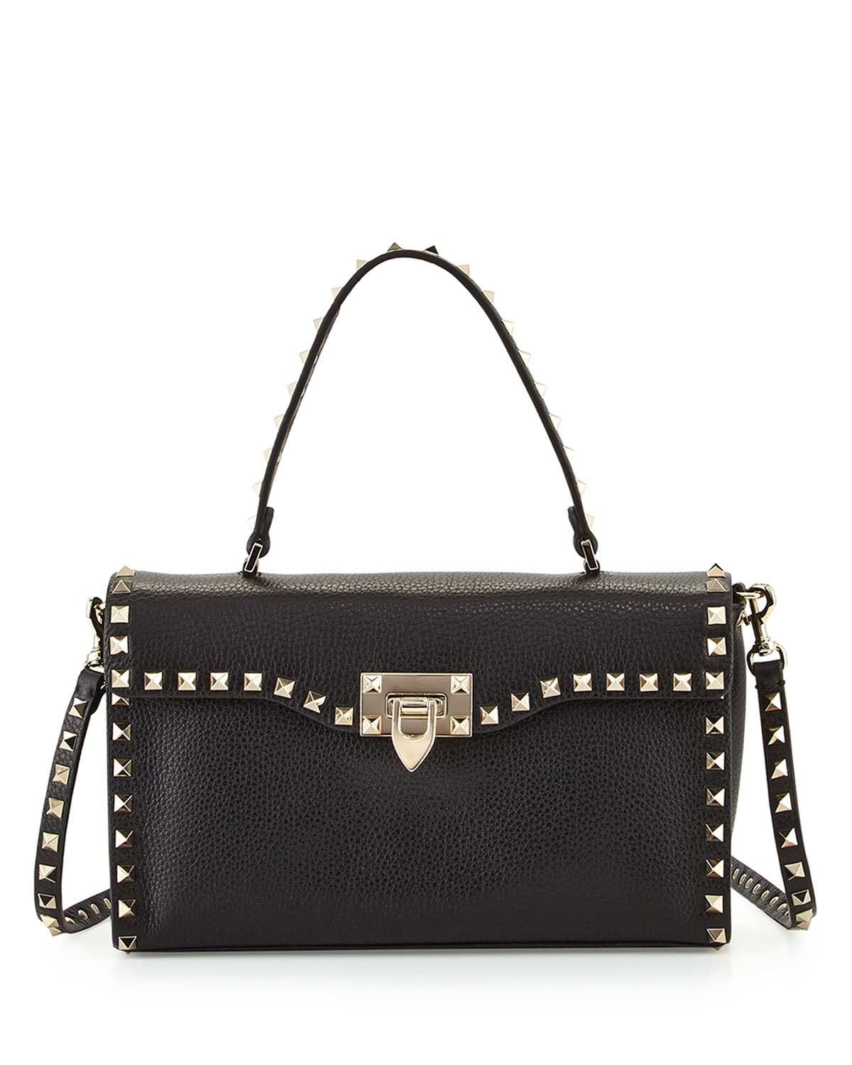 23ba2cd314 Valentino Garavani Rockstud Small Single-Handle Satchel Bag, Black ...