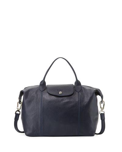 Le Pliage Cuir Handbag with Strap  Navy