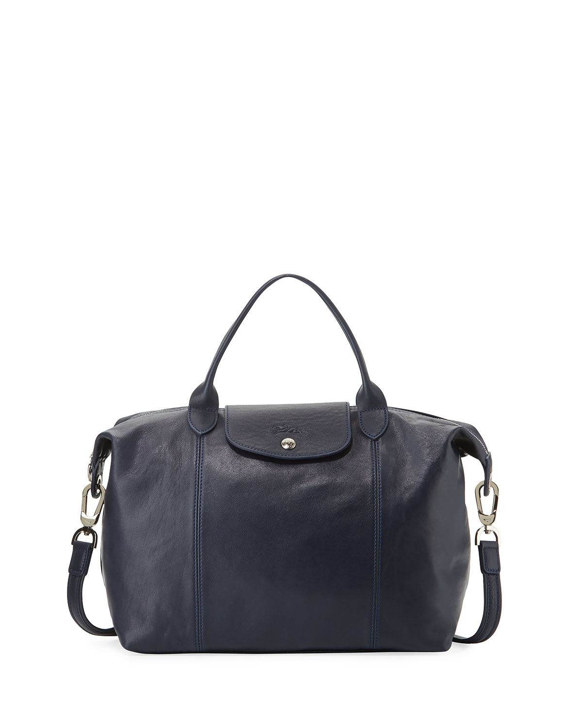 a62deae5be Longchamp Le Pliage Cuir Handbag with Strap, Navy | Neiman Marcus