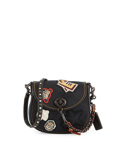Coach 1941 17 Varsity Patch Leather Saddle Bag Black
