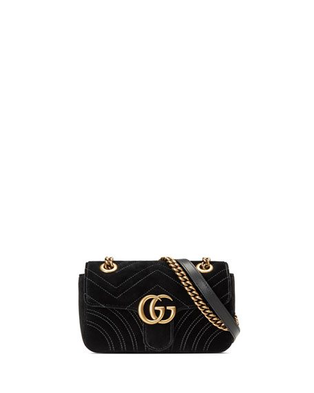 f2fae9759a816c Image 1 of 5: Gucci GG Marmont Mini Quilted Velvet Crossbody Bag, Black